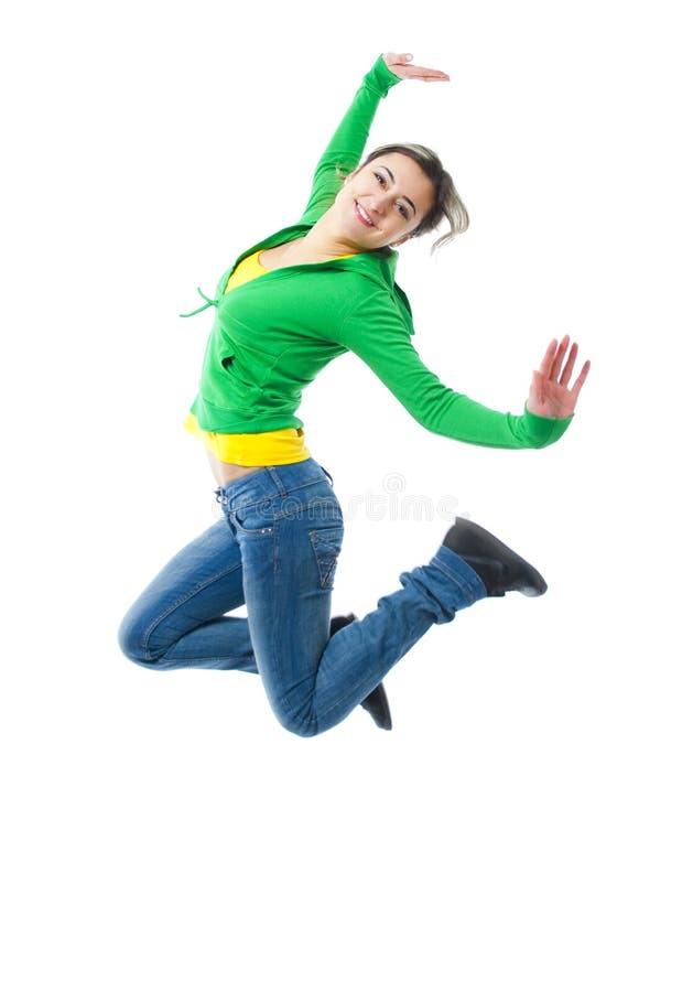 lycklig banhoppning för flicka royaltyfri foto
