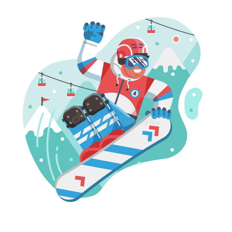 Lycklig banhoppning för fristilSnowboarderman stock illustrationer