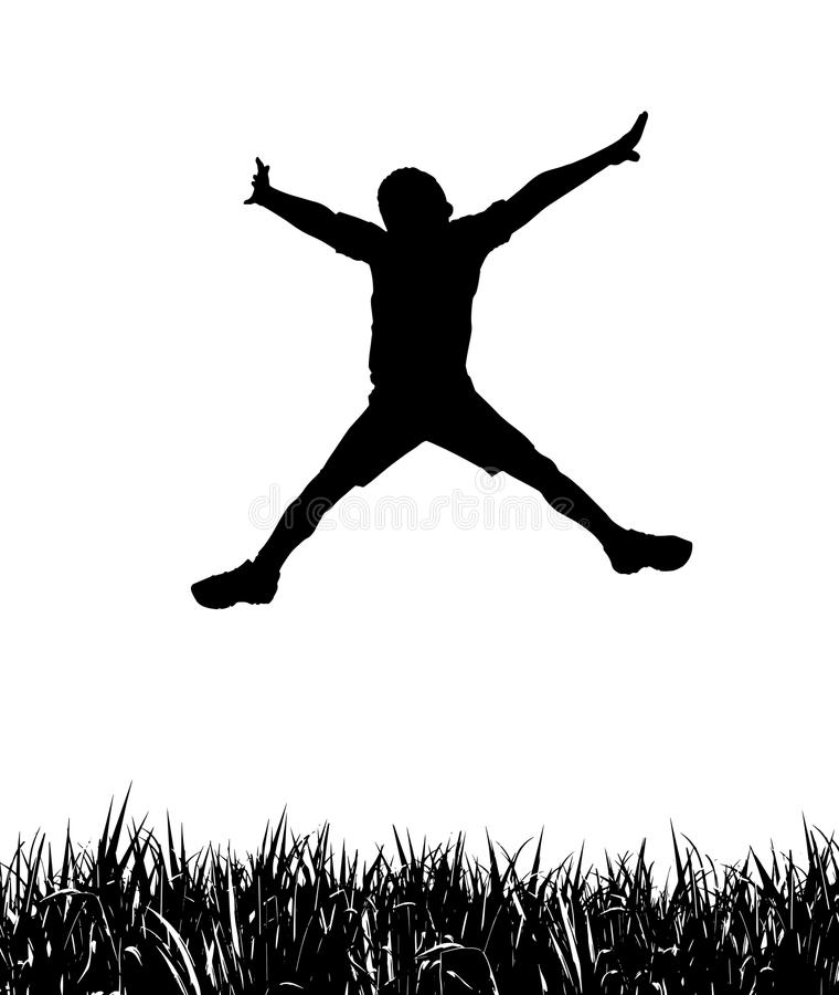 lycklig banhoppning för pojke royaltyfri illustrationer
