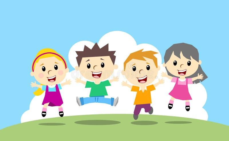 Lycklig banhoppning fyra ungar royaltyfri illustrationer