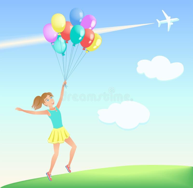 Lycklig banhoppningflicka med färgrika ballonger på gräsmattan vektor illustrationer
