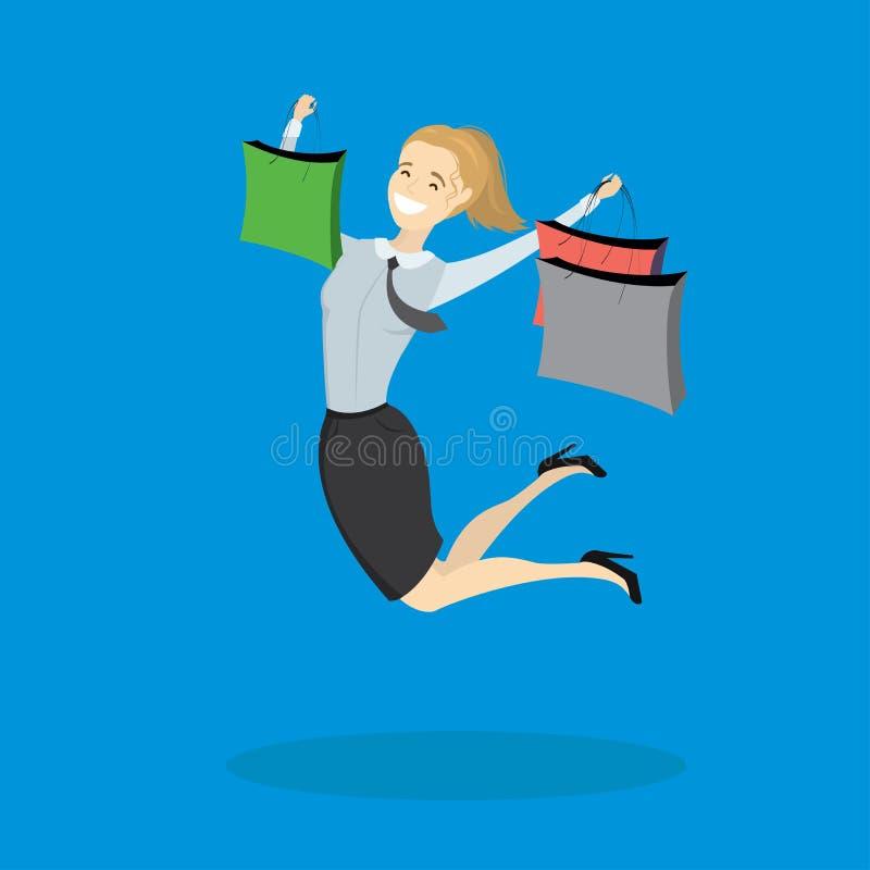 Lycklig banhoppningkvinna med shoppingpåsar stock illustrationer
