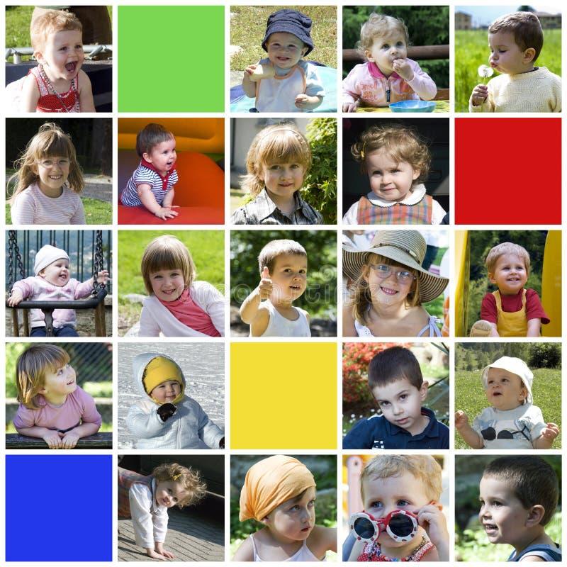 lycklig barncollage arkivbild