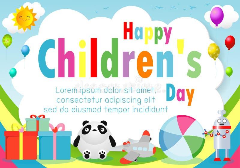 Lycklig barndagbakgrund, barns dagaffisch med den lyckliga ungemallen för annonsering av broschyren din text, vektor stock illustrationer