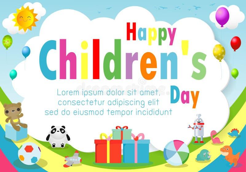 Lycklig barndagbakgrund, barns dagaffisch med den lyckliga ungemallen för annonsering av broschyren din text, vektor Illustrat royaltyfri illustrationer