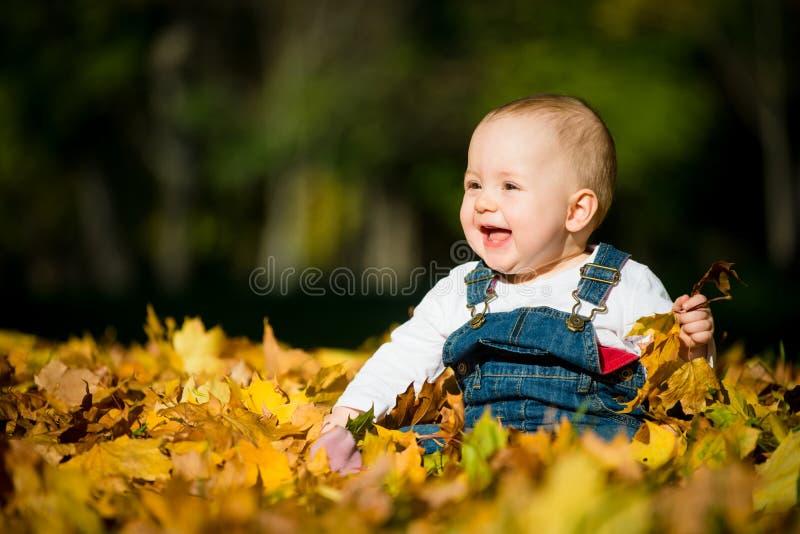 Lycklig barndom - solig dag för höst arkivbilder