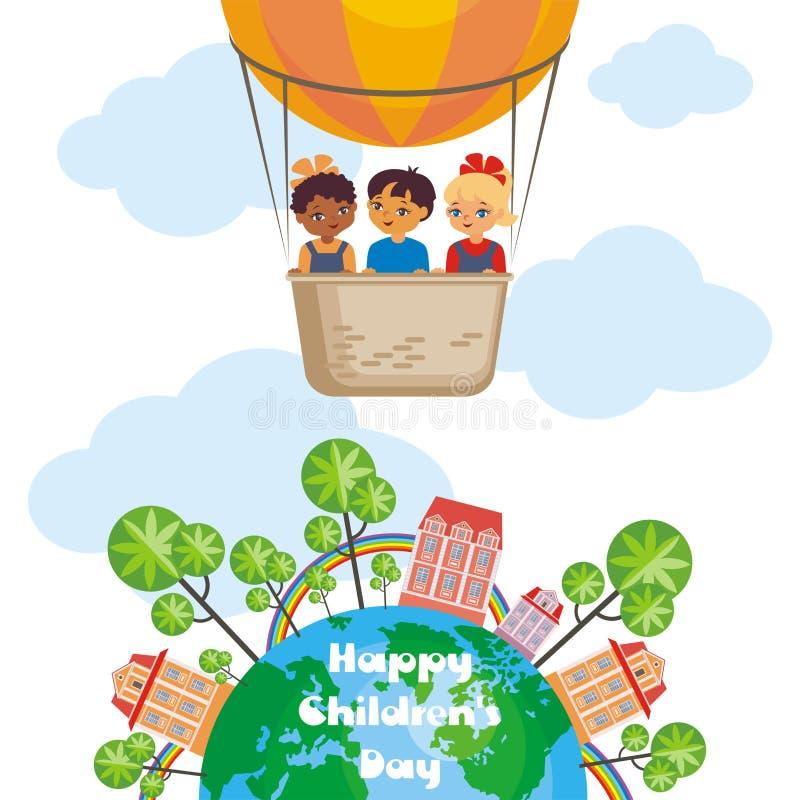 Lycklig barns dagaffisch vektor illustrationer