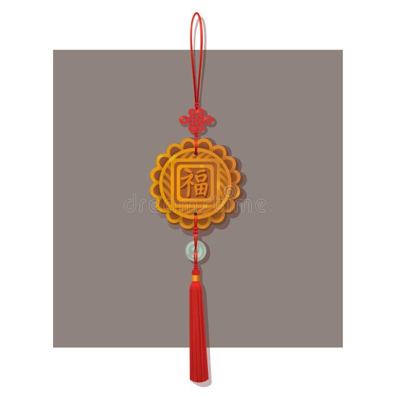 Lycklig berlockhänge för kinesisk fnuren med välsignelseord För lycklig garnering för maskot fnurentofs för traditionell kines hä stock illustrationer