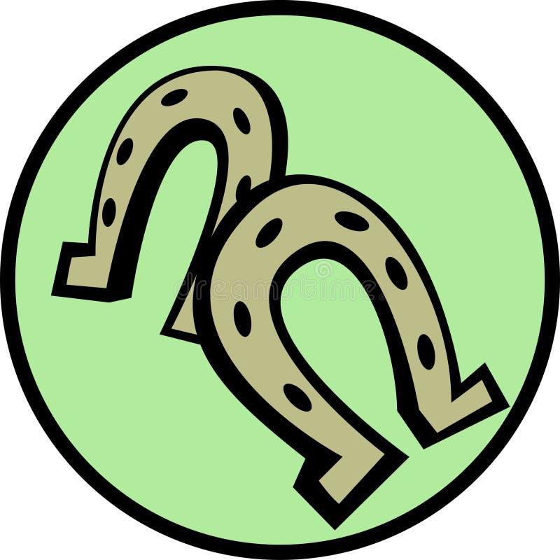 lycklig berlockhästsko stock illustrationer