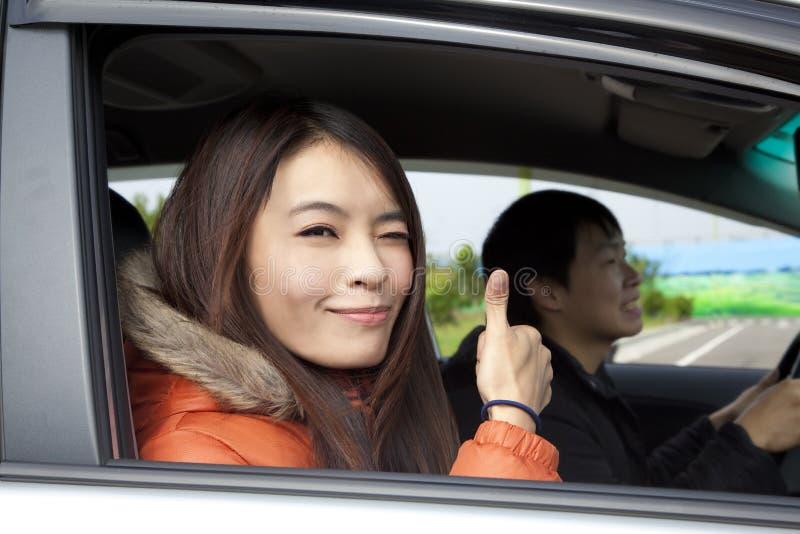 lycklig bilparkörning royaltyfria foton