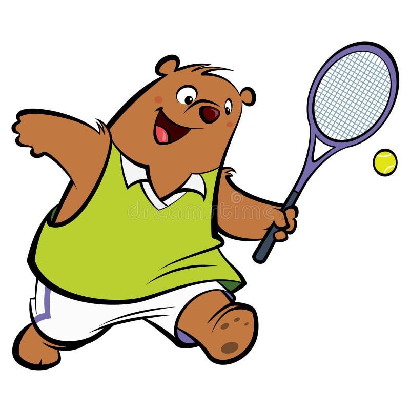 Lycklig björn för tecknad film som spelar tennis stock illustrationer