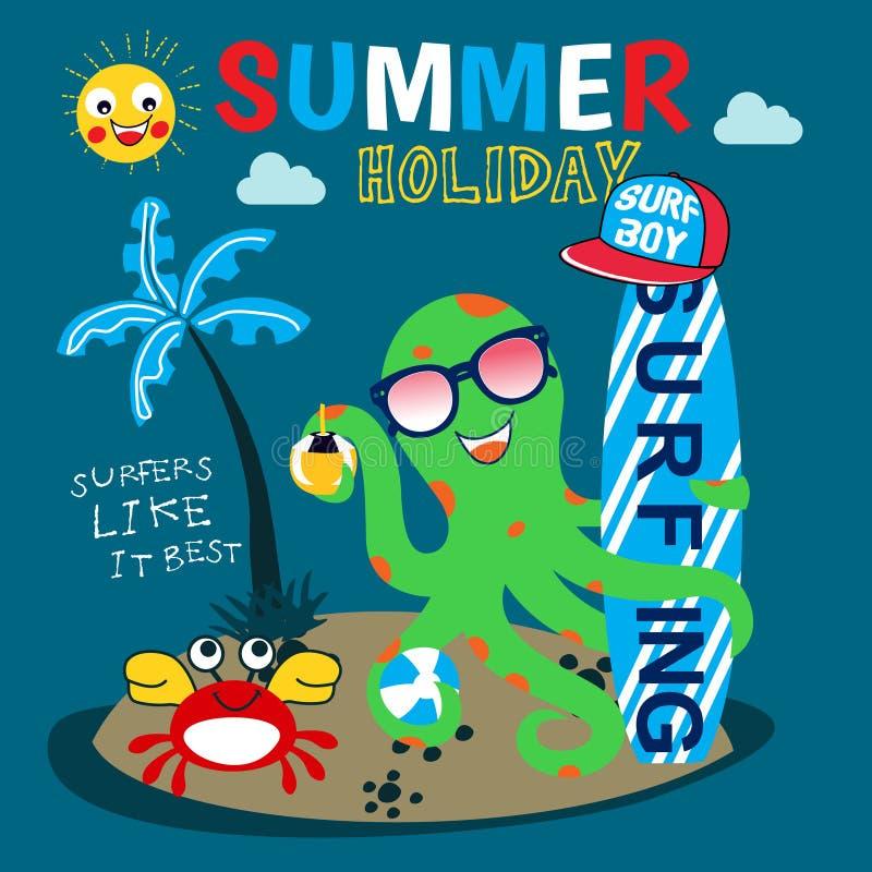 Lycklig bläckfisk som surfar tecknad filmvektorn vektor illustrationer