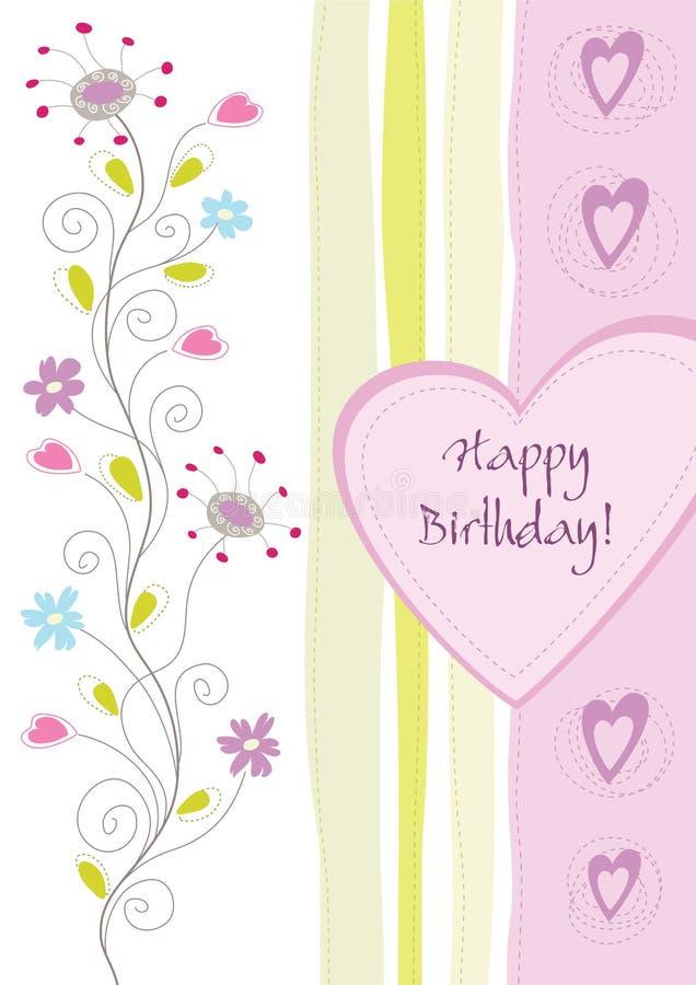 lycklig blom- hälsning för födelsedagkort royaltyfri illustrationer