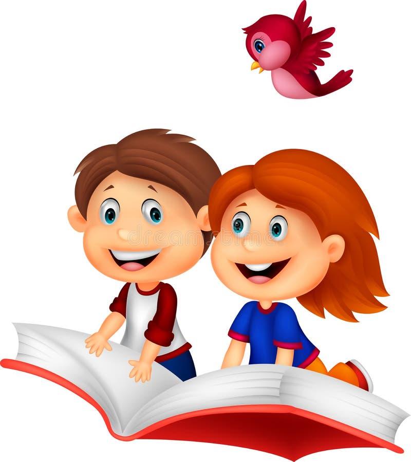 Lycklig bok för barntecknad filmridning vektor illustrationer