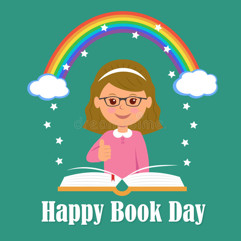 Lycklig bokdag Begreppet av bakgrundsmagi av läsning royaltyfri illustrationer