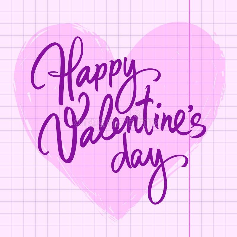 Lycklig bokstäver för borste för valentindag handskriven på rosa hjärtabakgrund Typografi för valentindagfärgpulver på arket av royaltyfri illustrationer