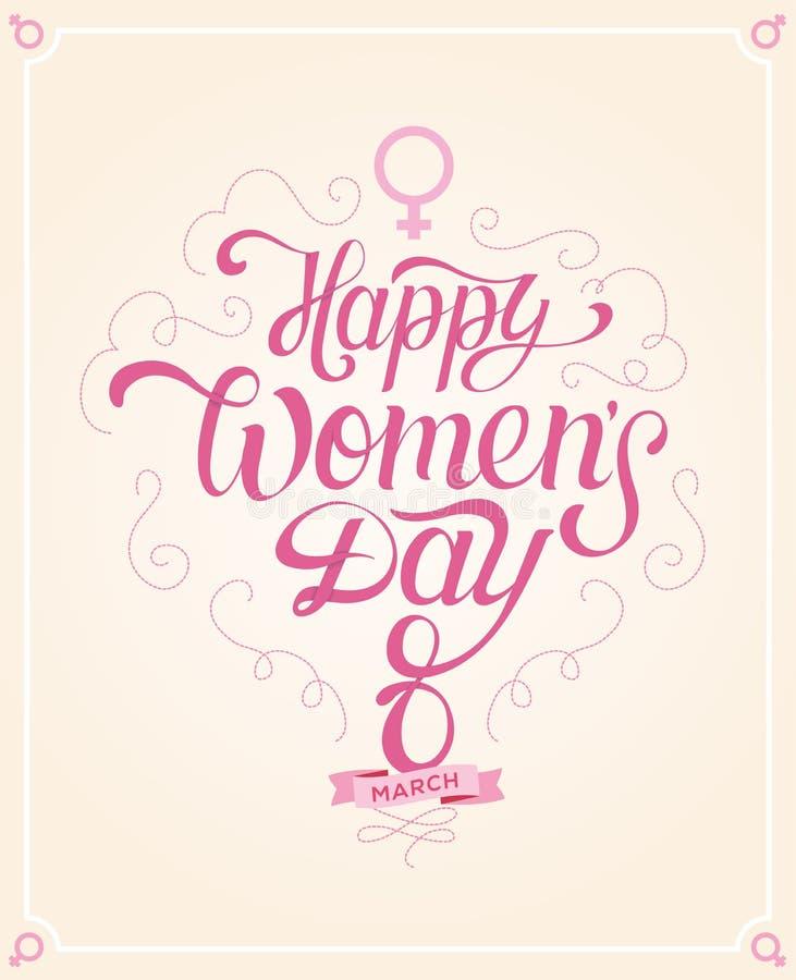 Lycklig bokstäver för dag för kvinna` s dragen hand arkivfoton