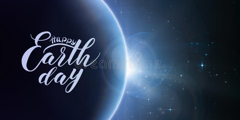 Lycklig bokstäver för jorddag på abstrakt vektorblåttbakgrund med planeten och förmörkelse av solen royaltyfri illustrationer