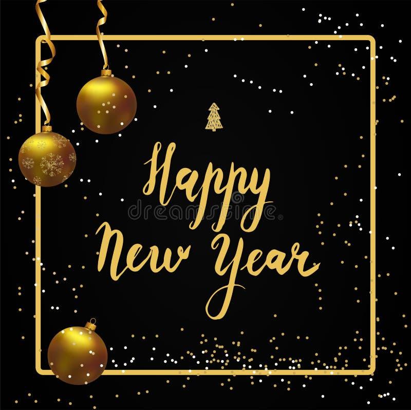 Lycklig bokstäver för nytt år Den guld- bollen, guld- band och blänker royaltyfri illustrationer