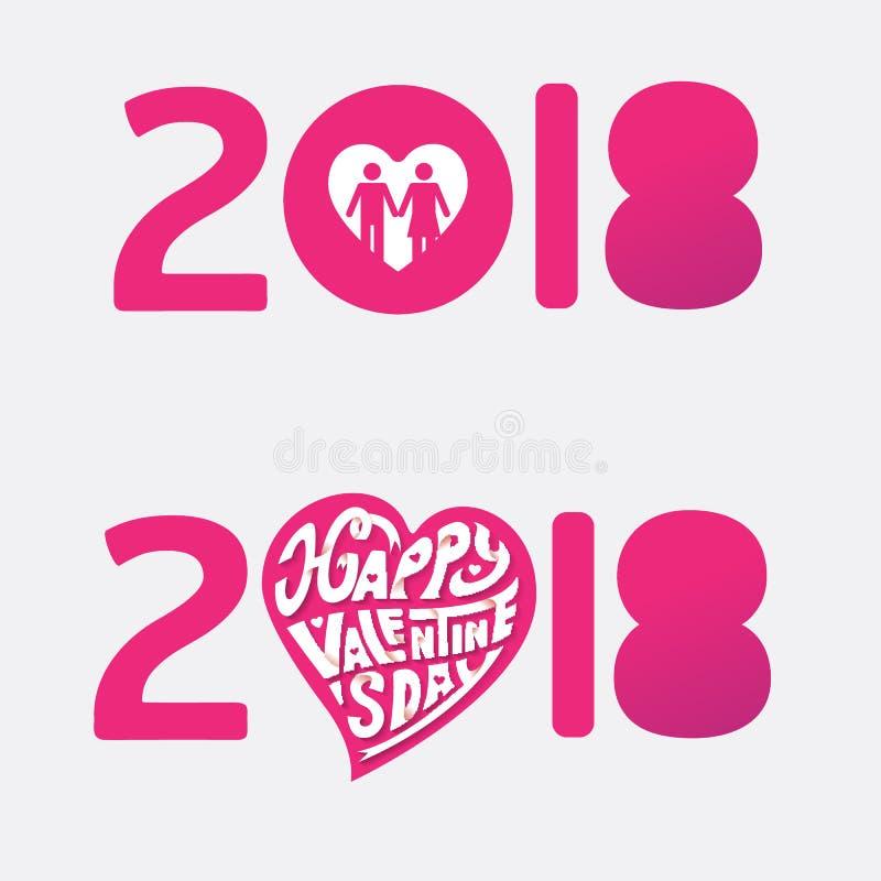 Lycklig bokstav för pappers- hantverk för vektor för teckning för hand för valentindag 2018 royaltyfria foton
