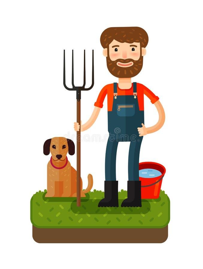 Lycklig bonde med en högaffel gears symbolen tecknad filmcommandertryckspruta hans illustrationsoldatstopwatch stock illustrationer