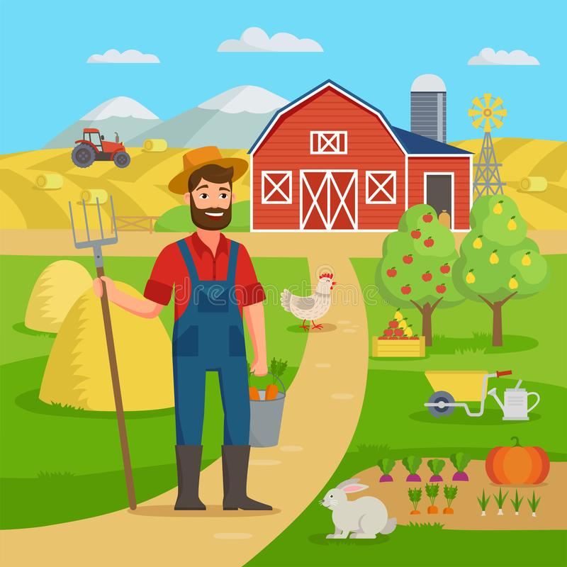 Lycklig bonde med jordbruks- landskap och trädgård som framme står av de lantgårdladugården och fälten med skörden Eco lantbruk vektor illustrationer