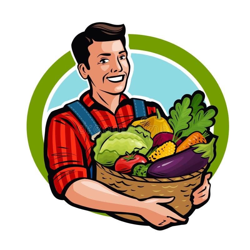 Lycklig bonde som rymmer den vide- korgen full av nya grönsaker Jordbruk lantgård, skördbegrepp Tecknad filmvektor stock illustrationer