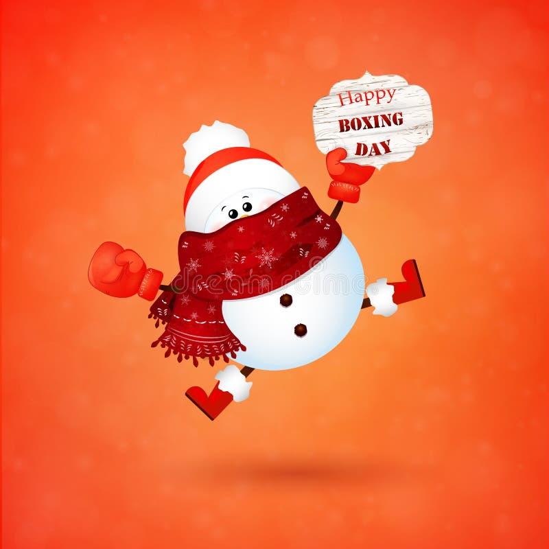 Lycklig boxningdag Gullig snögubbe med den röda boxninghandsken som känner sig upphetsad vektor illustrationer