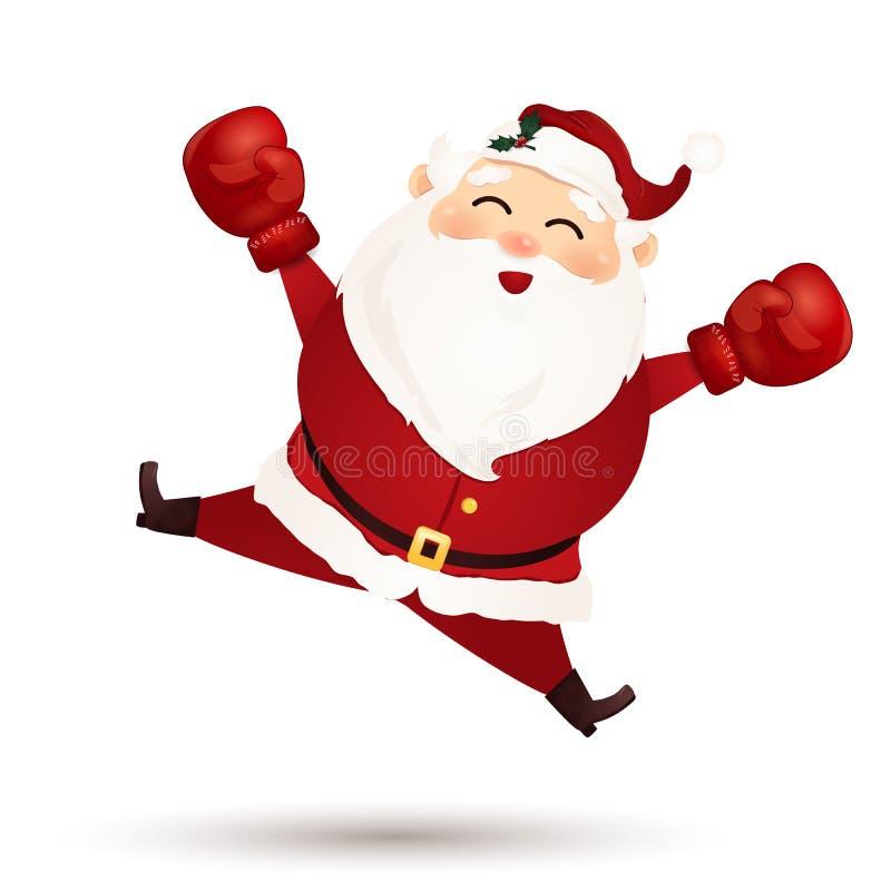 Lycklig boxningdag Gullig tecknad film, roliga Santa Claus med rött royaltyfri illustrationer