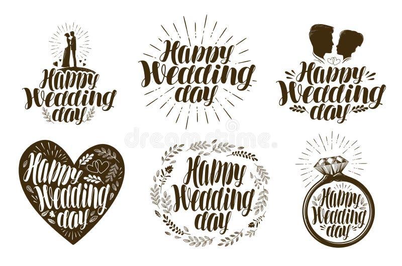 Lycklig bröllopdag etikettuppsättning Gift par, förälskelsesymbol eller logo Bokstävervektorillustration royaltyfri illustrationer