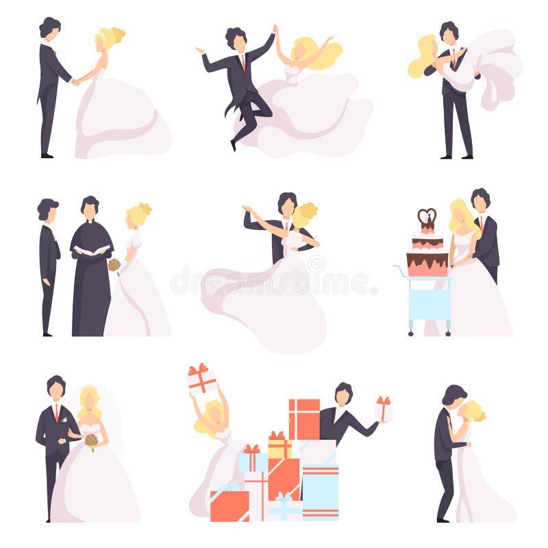 Lycklig bröllopparuppsättning, brud och brudgum som firar förbindelse och att dansa, krama som klipper kakavektorillustrationen p vektor illustrationer
