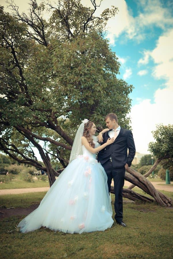 Lycklig brud och brudgum på deras bröllop royaltyfria bilder
