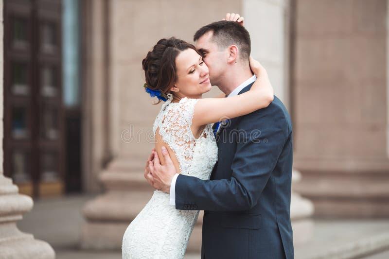 Lycklig brud och brudgum som firar bröllopdag att gifta sig kyssa för par Långt familjelivbegrepp arkivfoton