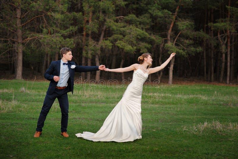 Lycklig brud och brudgum som på våren går på kanten av en pinjeskog arkivfoton