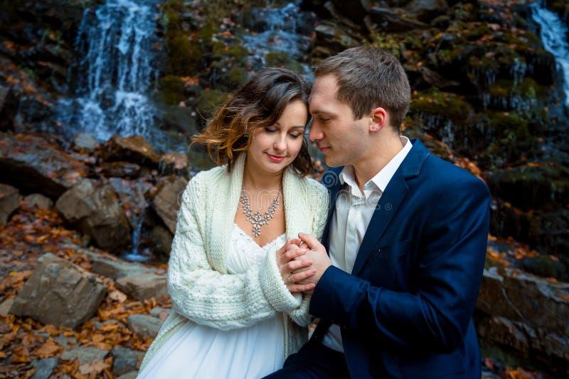 Lycklig brud och brudgum som rymmer slappt nära övre för händer Vattenfall på bakgrund royaltyfri bild
