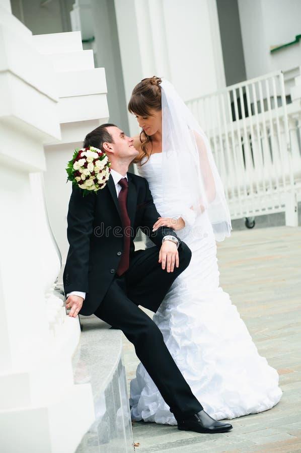 Lycklig brudgum och brud. Förälskelsemjukhetkänsla av brölloppar royaltyfri fotografi