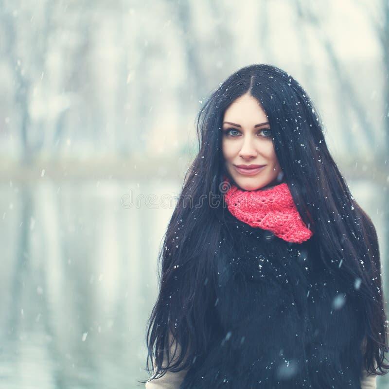 Lycklig brunettkvinna på vinterbakgrund arkivbild