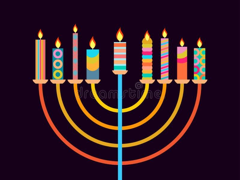 lycklig chanukah Ljusstake med nio stearinljus av olika färger vektor stock illustrationer