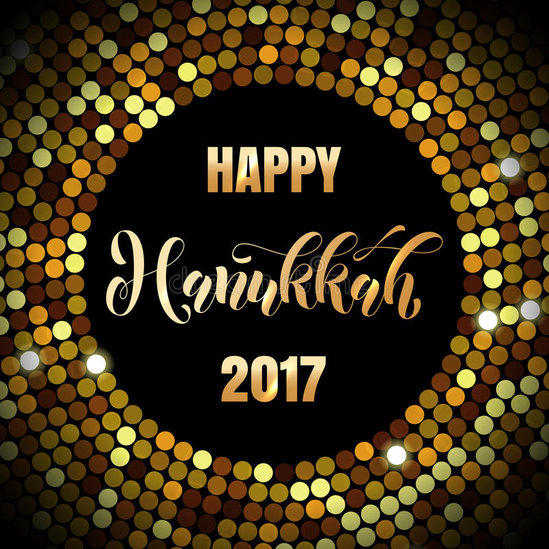 Lycklig Chanukkah 2017 judiska hälsning för ljusfestivalferie vektor illustrationer