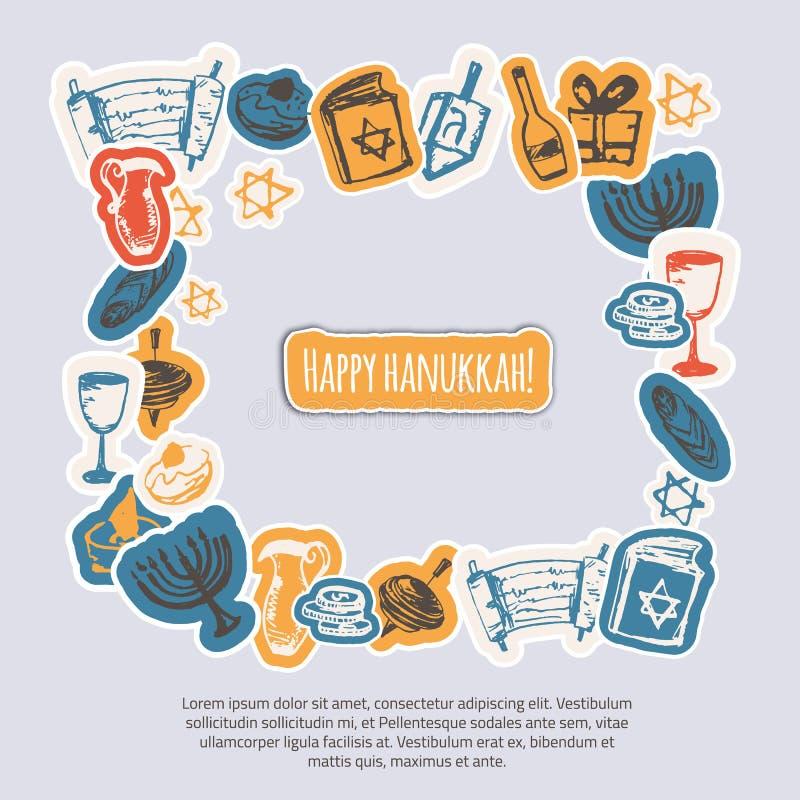 Lycklig Chanukkahhälsningram med hand drog beståndsdelar och bokstäver på grå bakgrund Menoror Dreidel, stearinljus stock illustrationer