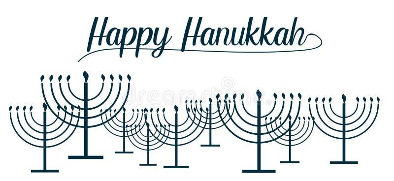 Lycklig Chanukkahtext och repetitionmodellen av enkla översiktsChanukkahmenoror med bränningstearinljus i blått färgar med tom ba royaltyfri illustrationer