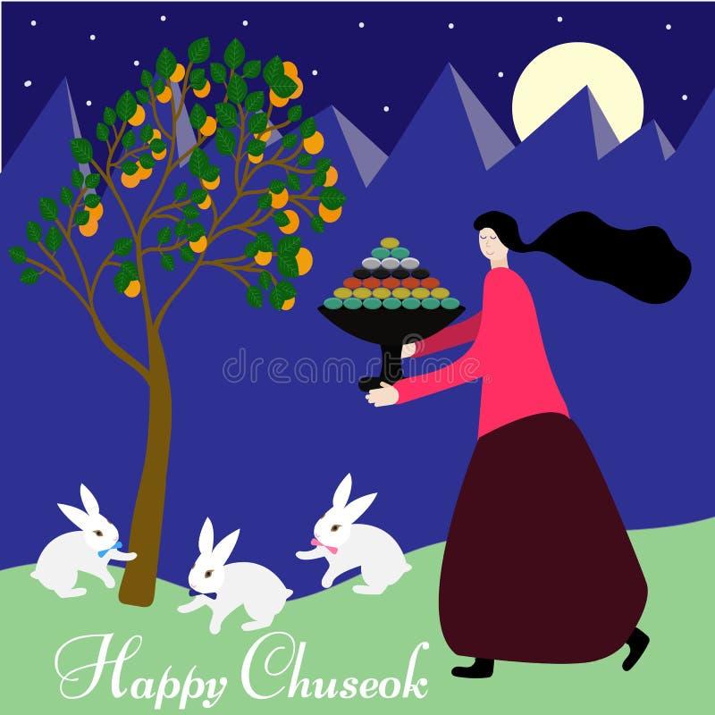 Lycklig chuseok i tecknad filmstil på purpurfärgad bakgrund Bakgrund för höstskördferie Begreppsm?ssigt sk?rddiagram med olika gr vektor illustrationer