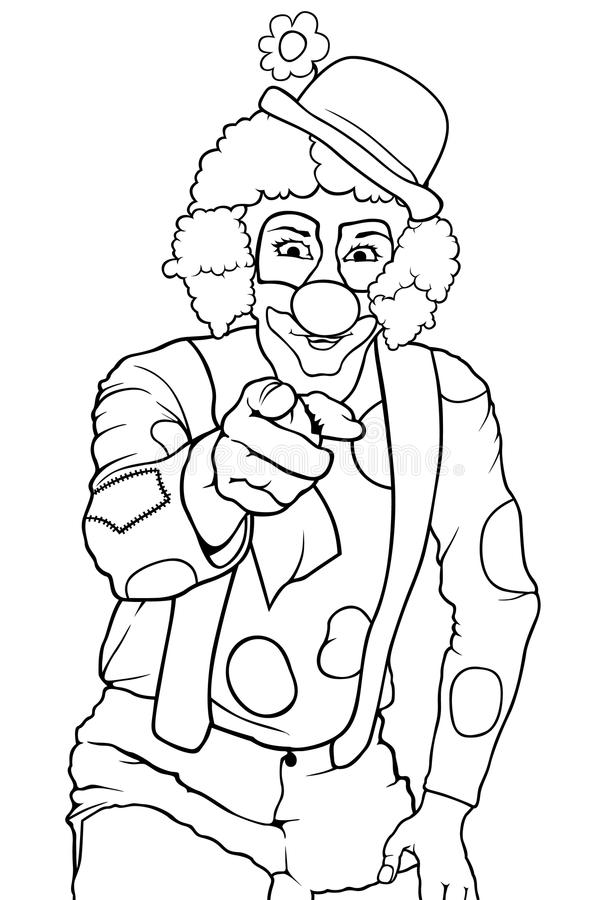 Lycklig clown Pointing vektor illustrationer