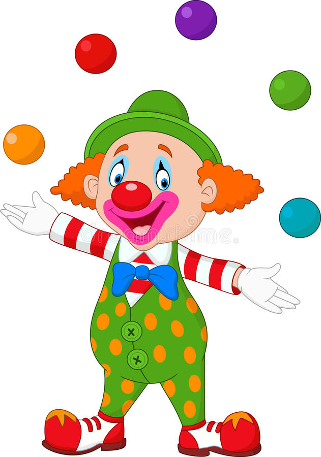Lycklig clown som jonglerar med färgrika bollar stock illustrationer