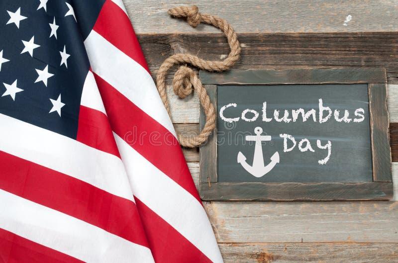 Lycklig columbus dag förenade flaggatillstånd royaltyfria bilder