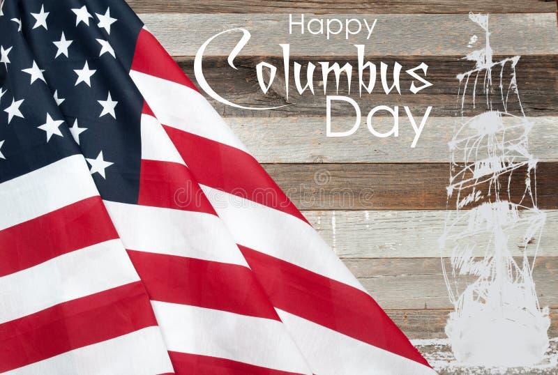 Lycklig columbus dag förenade flaggatillstånd fotografering för bildbyråer