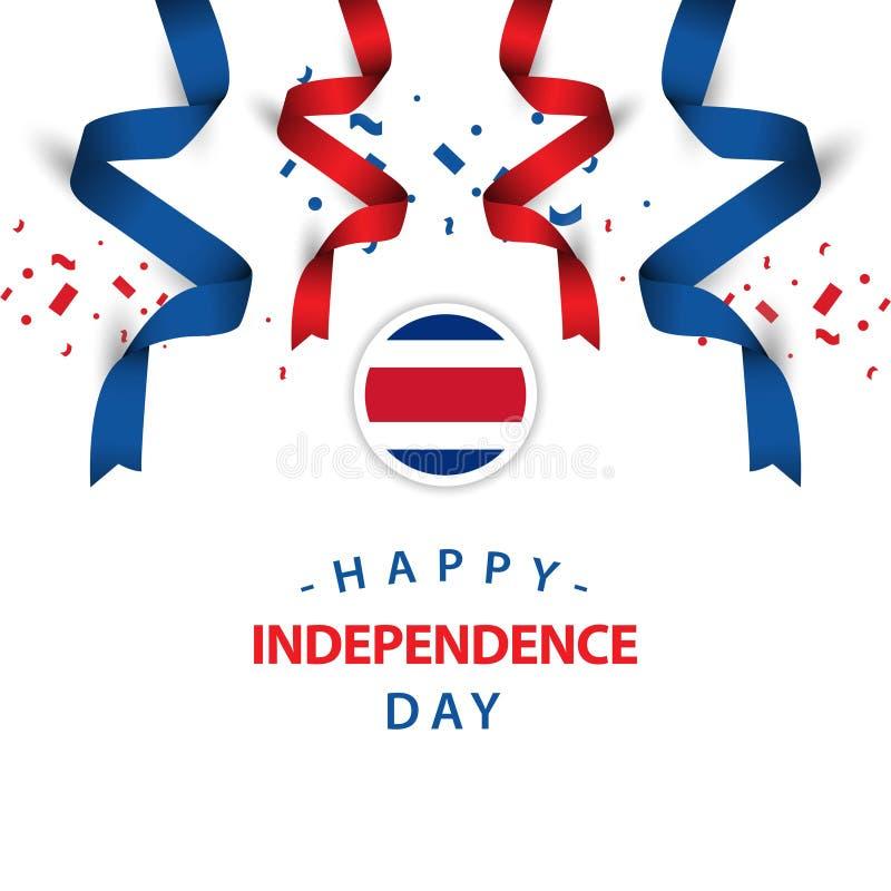 Lycklig Costa Rica Independence Day Vector Template designillustration stock illustrationer