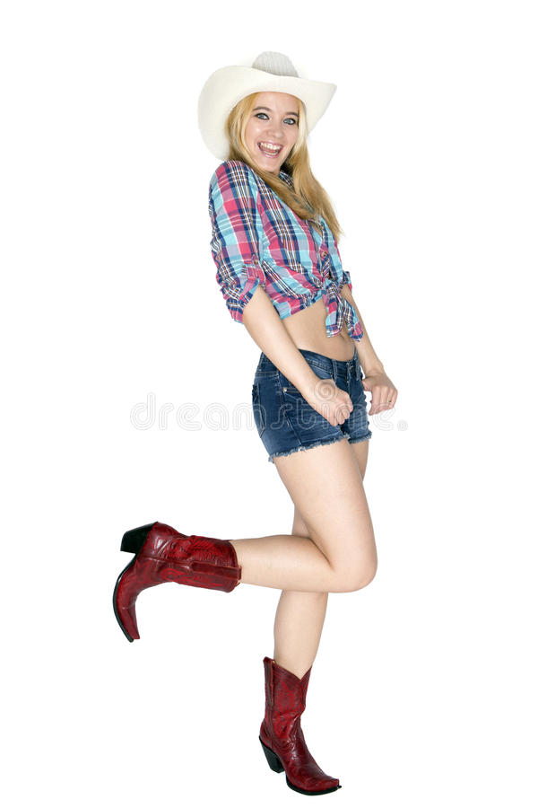 lycklig cowgirl arkivbild