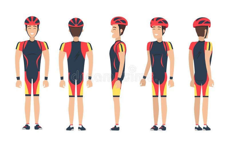 Lycklig cyklist i special dräktvektorillustration vektor illustrationer