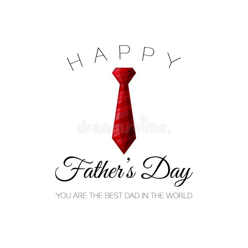 Lycklig dag för fader` s! Du är den bästa farsan i världen Hälsningkort för ferie med det röda bandet stock illustrationer